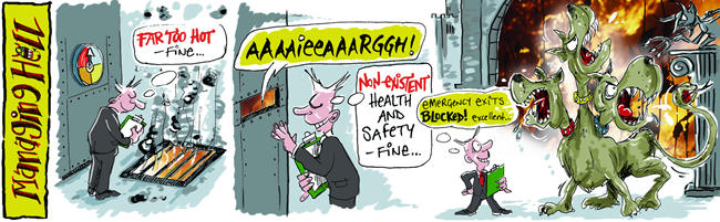 Managing Hell cartoon, David Thorpe and Matt Buck