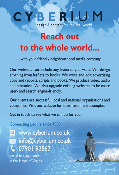 Cyberium web and graphic design promotional postcard