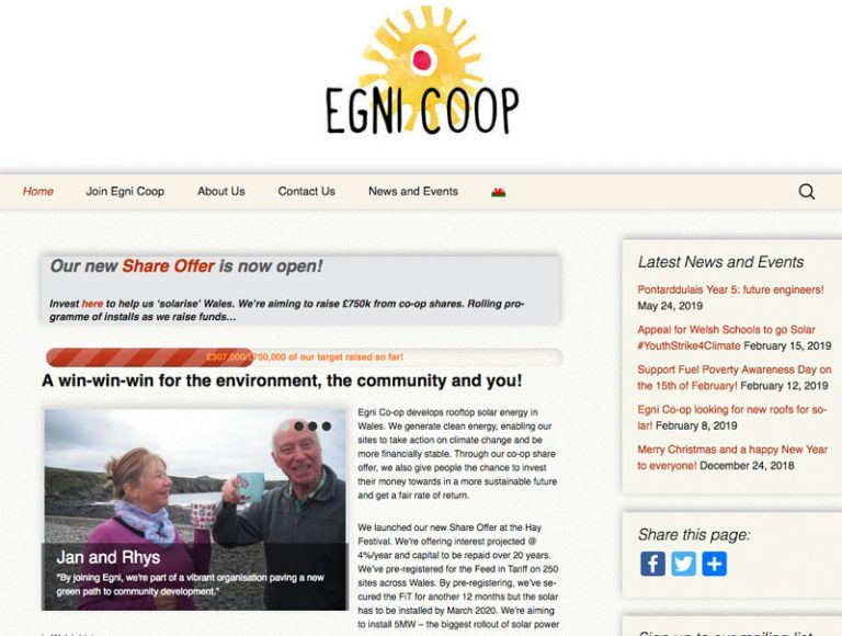 Egni.coop website screengrab of front page